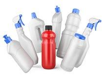 Sistema de las botellas blancas y de un bottl rojo con los detergentes Imagen de archivo