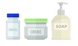 Sistema de las botellas para el jabón y la crema de baño Foto de archivo libre de regalías