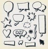 Sistema de las burbujas y de elementos del discurso del garabato Imagen de archivo libre de regalías