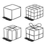Sistema de las cajas bosquejadas Fotos de archivo