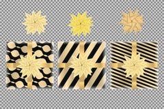 Sistema de las cajas de regalo y de la opinión superior de los arcos, aislado en fondo transparente Arco de las cintas del oro en ilustración del vector