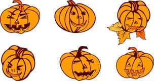 Sistema de las calabazas de Halloween stock de ilustración