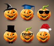 Sistema de las calabazas de Halloween Imagen de archivo libre de regalías