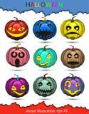 Sistema de las calabazas del vector de diversos colores en honor de Halloween, con diversas emociones Foto de archivo