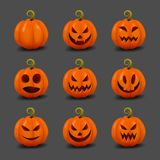 Sistema de las calabazas realistas para Halloween Calabazas felices de Halloween de la cara Días de fiesta del otoño Ilustración  Foto de archivo