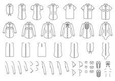 Sistema de las camisas femeninas y masculinas, elementos para combinar ilustración del vector