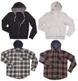 Sistema de las camisas masculinas de las sudaderas con capucha Aislado en el fondo blanco Foto de archivo libre de regalías