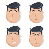 Sistema de las caras masculinas con emociones ilustración del vector