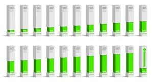 Sistema de las cartas verdes para el infographics, 0 5 10 15 20 25 30 35 40 del porcentaje Imagen de archivo