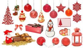 Sistema de las chucherías rojas del Año Nuevo para la Navidad Fotografía de archivo libre de regalías