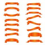 Sistema de las cintas anaranjadas con los straights amarillos Foto de archivo libre de regalías