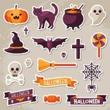 Sistema de las cintas de Halloween y de las etiquetas engomadas de los caracteres Imágenes de archivo libres de regalías
