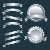 Sistema de las cintas, de las etiquetas y de las insignias de plata Imágenes de archivo libres de regalías