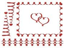 Sistema de las cintas del día de tarjeta del día de San Valentín Fotos de archivo