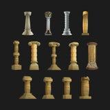 Sistema de las columnas de la historieta de los iconos para el interior y el exterior Ilustración del vector Fotografía de archivo libre de regalías