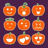 Sistema de las diversas calabazas de Halloween Sonrisas emocionales stock de ilustración