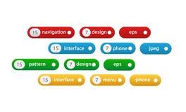 Sistema de las diversas etiquetas en blanco, etiquetas con números libre illustration