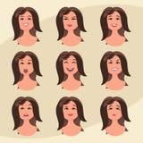Sistema de las emociones de la mujer Expresión facial Muchacha Avatar Ejemplo del vector en estilo plano del diseño Fotografía de archivo