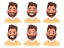 Sistema de las emociones faciales masculinas Carácter barbudo del emoji del hombre con los di stock de ilustración
