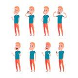 Sistema de las emociones faciales masculinas Car?cter barbudo del emoji del hombre con diversas expresiones Ejemplo del vector en libre illustration