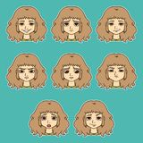 Sistema de las emociones de la mujer Expresión facial libre illustration