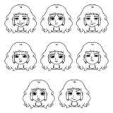 Sistema de las emociones de la mujer Expresión facial ilustración del vector