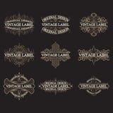 Sistema de las etiquetas antiguas, logotipos del vintage Imagenes de archivo