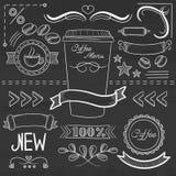 Sistema de las etiquetas, cintas, marcos para el menú del coffe Foto de archivo
