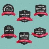 Sistema de las etiquetas de la cafetería, de la bandera y del sistema del vector de las insignias Fotografía de archivo libre de regalías