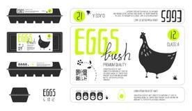 Sistema de las etiquetas de la plantilla para el empaquetado del huevo fotos de archivo libres de regalías