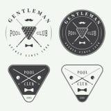 Sistema de las etiquetas, de los emblemas y del logotipo del billar del vintage Imagen de archivo