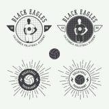 Sistema de las etiquetas, de los emblemas y del logotipo del voleibol del vintage Foto de archivo libre de regalías