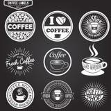 Sistema de las etiquetas del café, elementos del diseño, emblemas y Fotografía de archivo libre de regalías