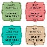 Sistema de las etiquetas del color para las tarjetas de Navidad Vector Fotos de archivo libres de regalías