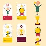 Sistema de las etiquetas del ganador, insignias Muchacha con la taza de oro Foto de archivo libre de regalías