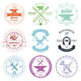 Sistema de las etiquetas del herrero del vintage y del vector de los elementos del diseño Foto de archivo