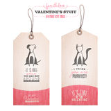 Sistema de las etiquetas del regalo del día de tarjeta del día de San Valentín Imagenes de archivo