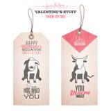 Sistema de las etiquetas del regalo del día de tarjeta del día de San Valentín Fotografía de archivo libre de regalías