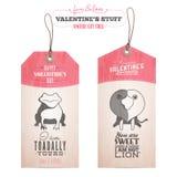 Sistema de las etiquetas del regalo del día de tarjeta del día de San Valentín Imágenes de archivo libres de regalías