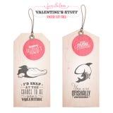 Sistema de las etiquetas del regalo del día de tarjeta del día de San Valentín Fotografía de archivo