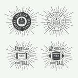 Sistema de las etiquetas del rugbi del vintage y del fútbol americano, de los emblemas y del logotipo Fotos de archivo