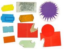 Sistema de las etiquetas engomadas adhesivas sucias del precio, precios, con el poli libre imagen de archivo libre de regalías