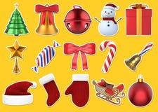 Sistema de las etiquetas engomadas 3D de la Navidad Imagenes de archivo