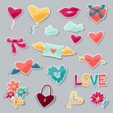 Sistema de las etiquetas engomadas de la tarjeta del día de San Valentín y de la boda Fotografía de archivo