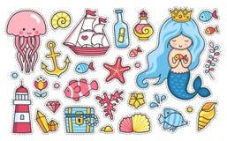 Sistema de las etiquetas engomadas de la historieta, remiendos, insignias, pernos, impresiones para los niños Mar y océano Doodle libre illustration