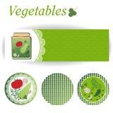 Sistema de las etiquetas engomadas rectangulares y redondas para las verduras conservadas Fotos de archivo