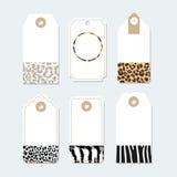 Sistema de las etiquetas, etiquetas con los modelos de moda de la piel de animales, Fotografía de archivo