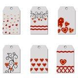 Sistema de las etiquetas felices del regalo del día de tarjeta del día de San Valentín Foto de archivo libre de regalías