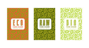 Sistema de las etiquetas inconsútiles del modelo y de la plantilla para las comidas vegetarianas stock de ilustración
