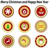 Sistema de las etiquetas para el diseño de la Navidad Fotos de archivo libres de regalías